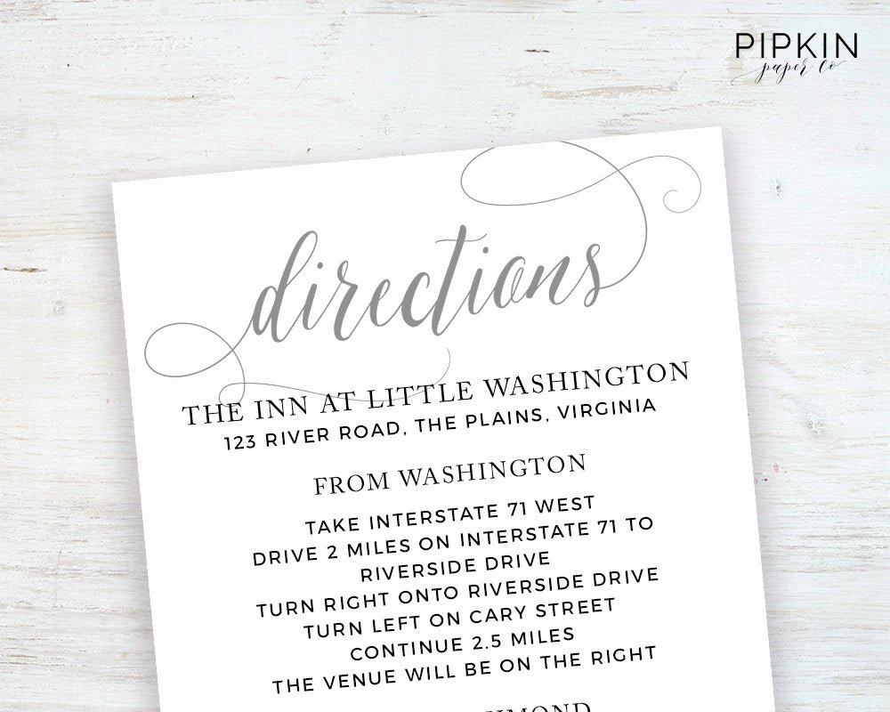 Wedding Direction Card Template Fresh Wedding Directions Card Template Printable Wedding