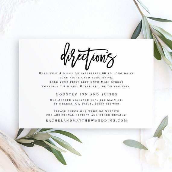 Wedding Direction Card Template Inspirational Directions Template Editable Pdf Directions Insert