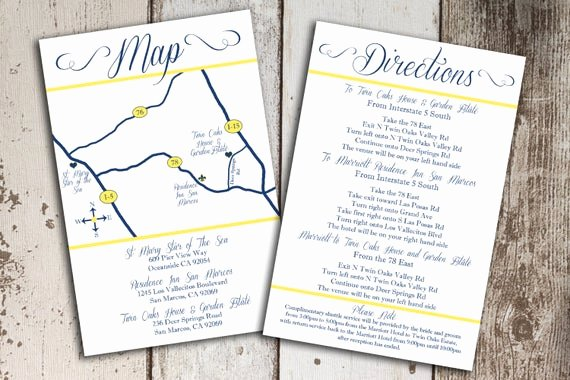 Wedding Direction Card Template New Items Similar to Custom Wedding Map and Direction