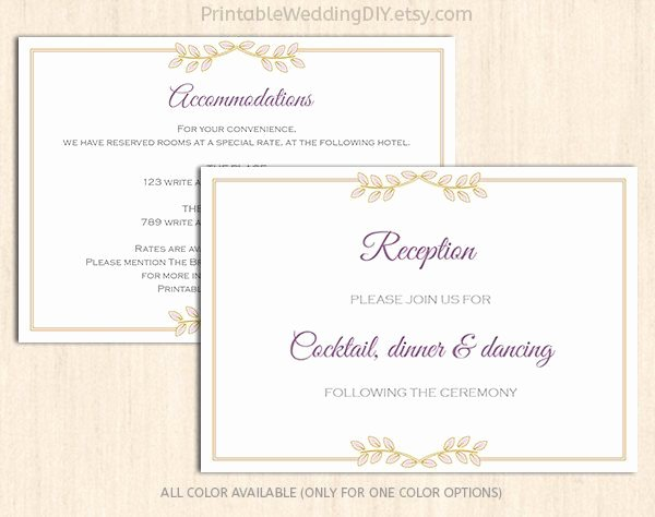 Wedding Direction Card Template New Lavender Gold Floral Enclosure Card Template Wedding