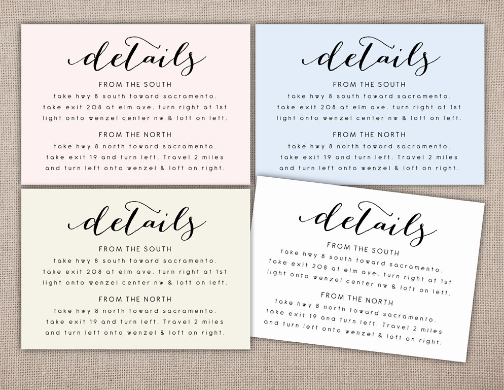 Wedding Direction Cards Template Awesome Details Printable Card Wedding Information Printables