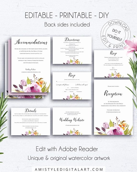 Wedding Direction Cards Template Awesome Floral Insert Card Wedding Set Marsala Floral Wedding