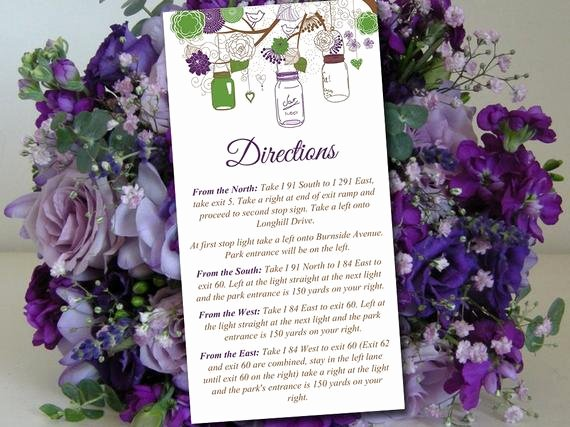 Wedding Direction Cards Template Elegant Mason Jar Wedding Directions Card Template Rustic Wedding