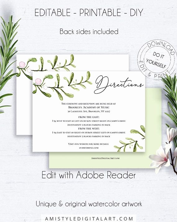 Wedding Direction Cards Template New Greenery Wedding Directions Card Details Card Wedding