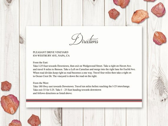 Wedding Direction Cards Template New Wedding Directions Card Template Classic Roses
