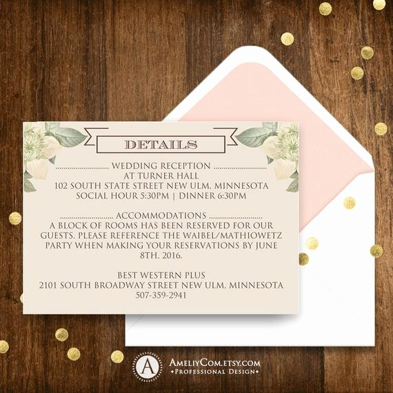 Wedding Direction Cards Template Unique Printable Detail Cards Information Card Direction Cards
