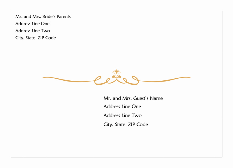 Wedding Envelope Address Template Fresh Wedding Invitation Envelope Heart Scroll Design A7 Size