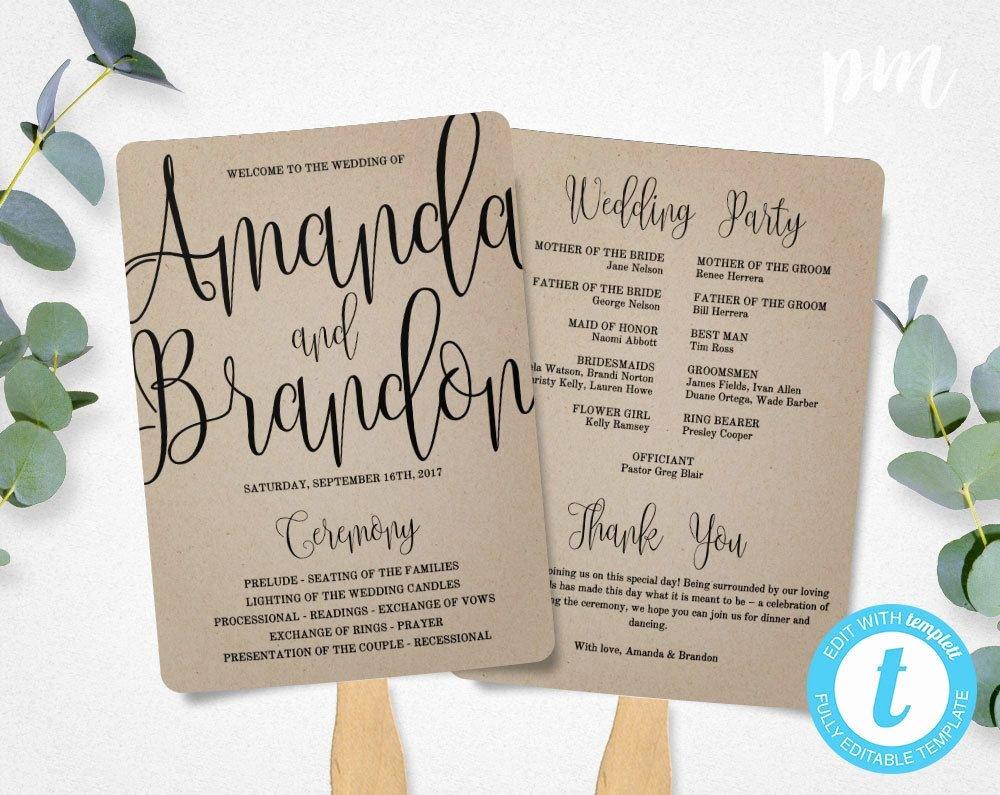 Wedding Fan Template Free Best Of Rustic Wedding Program Fan Template Calligraphy Script