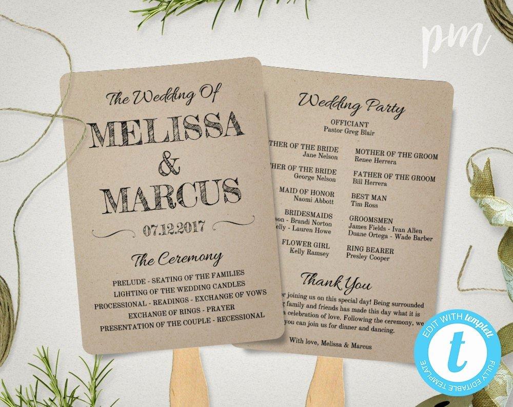 Wedding Fan Template Free Elegant Rustic Wedding Program Fan Template Fan Wedding Program