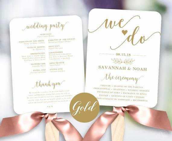 Wedding Fan Template Free Inspirational Gold Wedding Fans Printable Wedding Fan Program Template Fan