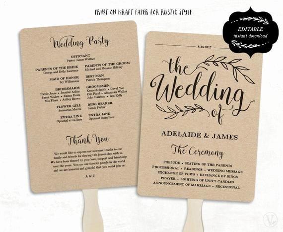 Wedding Fan Template Free Inspirational Printable Wedding Program Template Fan Wedding by Vinewedding