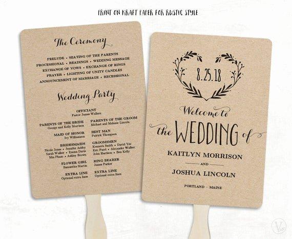 Wedding Fan Template Free Lovely Printable Wedding Program Template Wedding Fan by Vinewedding