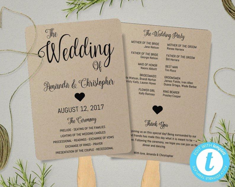 Wedding Fan Template Free Luxury Rustic Program Fan Template for Wedding Fan Wedding