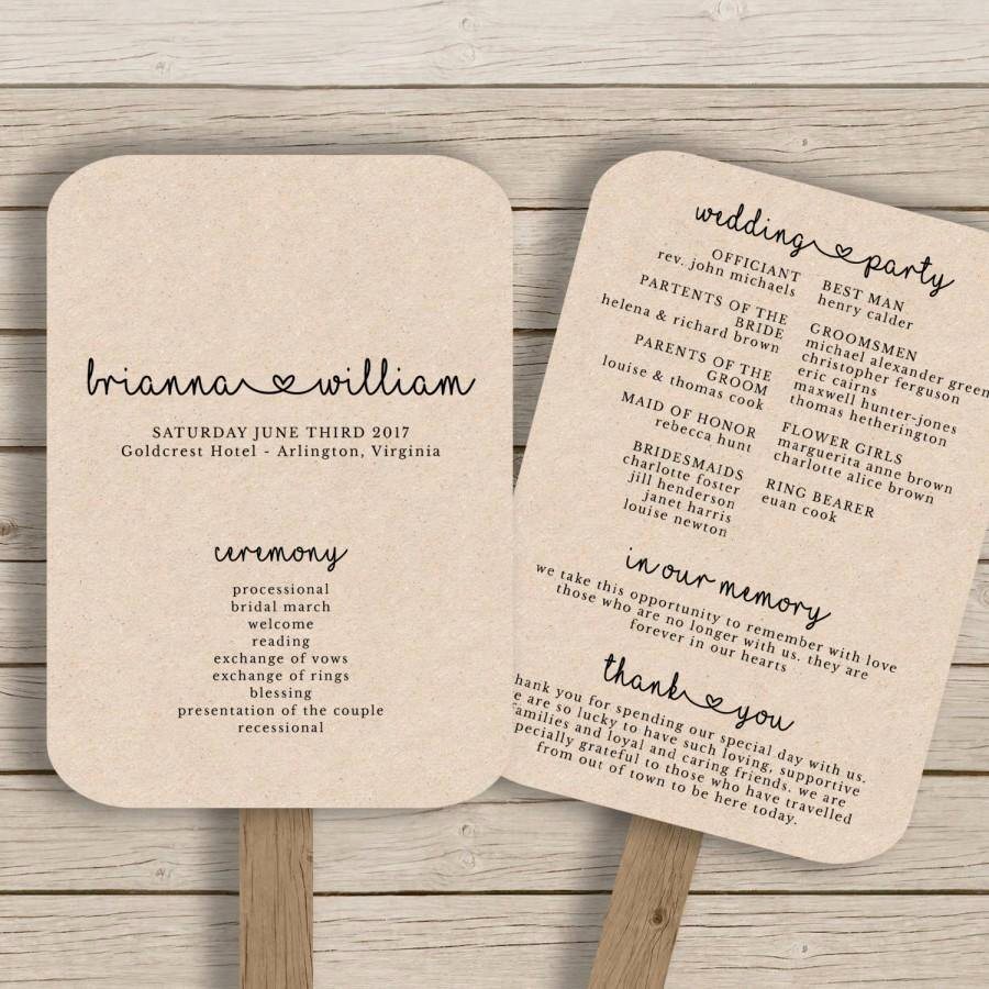 Wedding Fan Templates Free Awesome Wedding Fan Program Template Rustic Wedding Fan