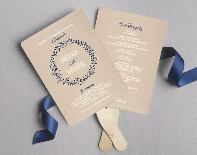 Wedding Fan Templates Free Beautiful Wedding Program Fan Wedding Program Printable Navy