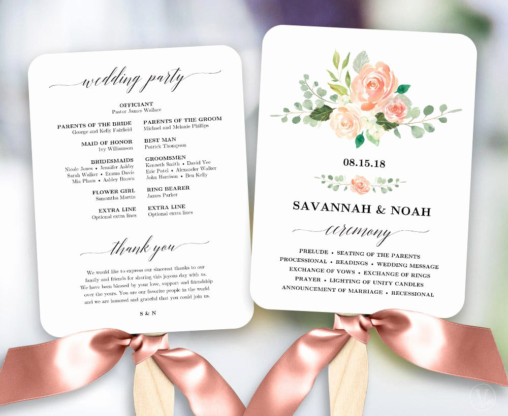 Wedding Fan Templates Free Elegant Peach Blush Floral Wedding Program Fan Template Printable