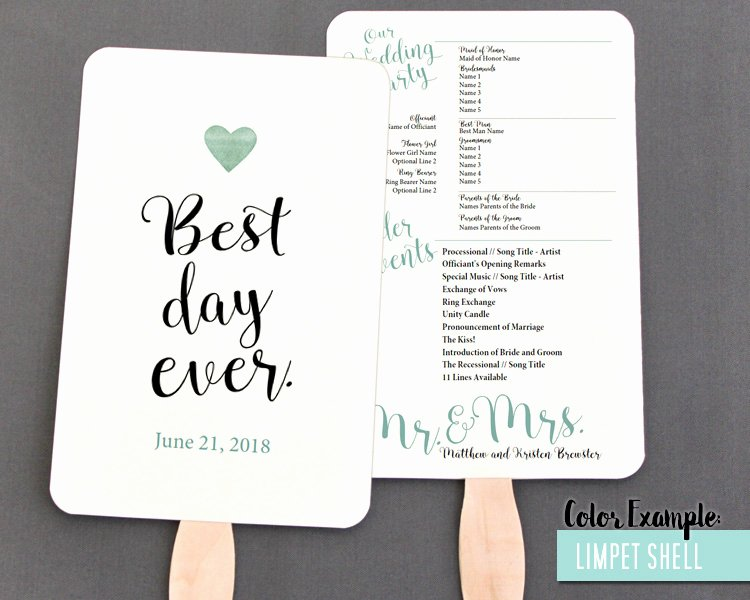 Best Day Ever Wedding Program Fan Cool Colors p 198