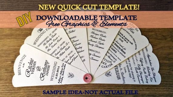 Wedding Fan Templates Free Lovely Diy Printable Wedding Petal Fan Program Outline Template