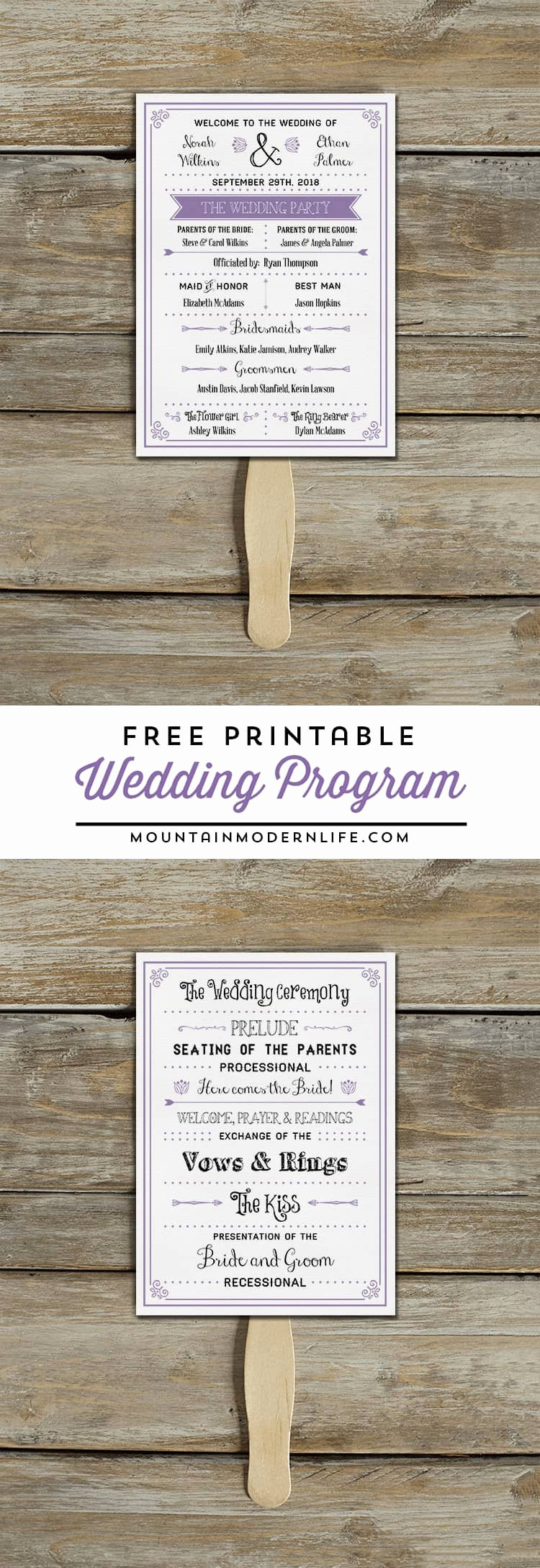Wedding Fan Templates Free Lovely Free Printable Wedding Program
