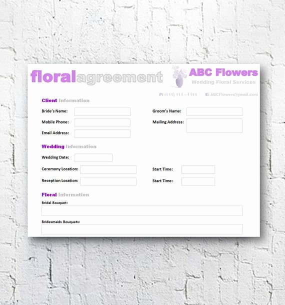 Wedding Flower Contract Template Awesome Florist Bridal Wedding Agreement Floral Business Contract
