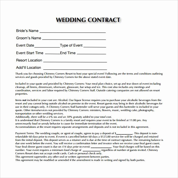 Wedding Flower Contract Template Awesome Wedding Contract Template 23 Download Documents In Pdf