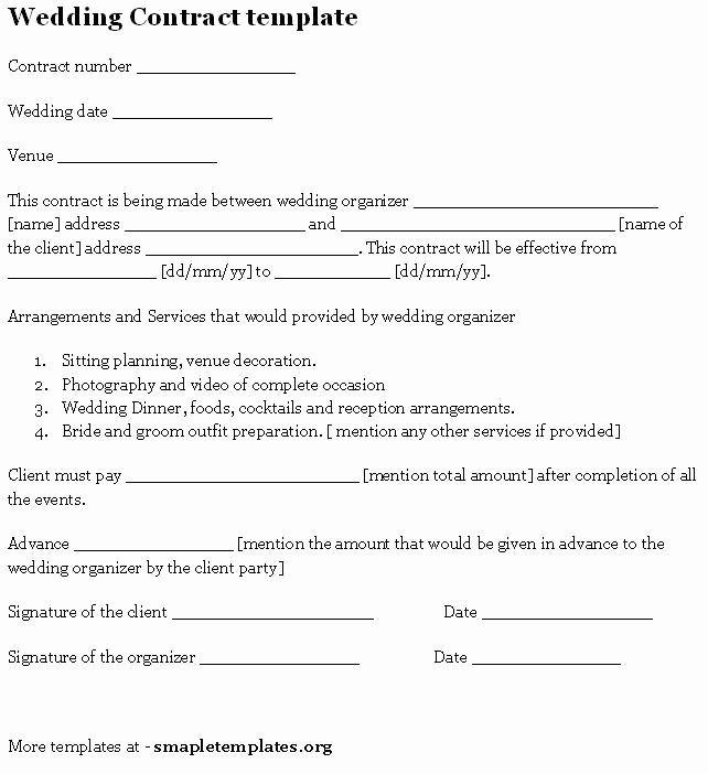 Wedding Flower Contract Template Awesome Wedding Contract Template Sample Templates