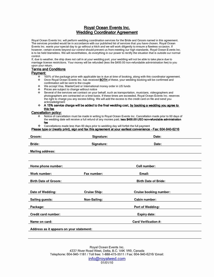 Wedding Flower Contract Template Awesome Wedding Planner Contract Sample Templates