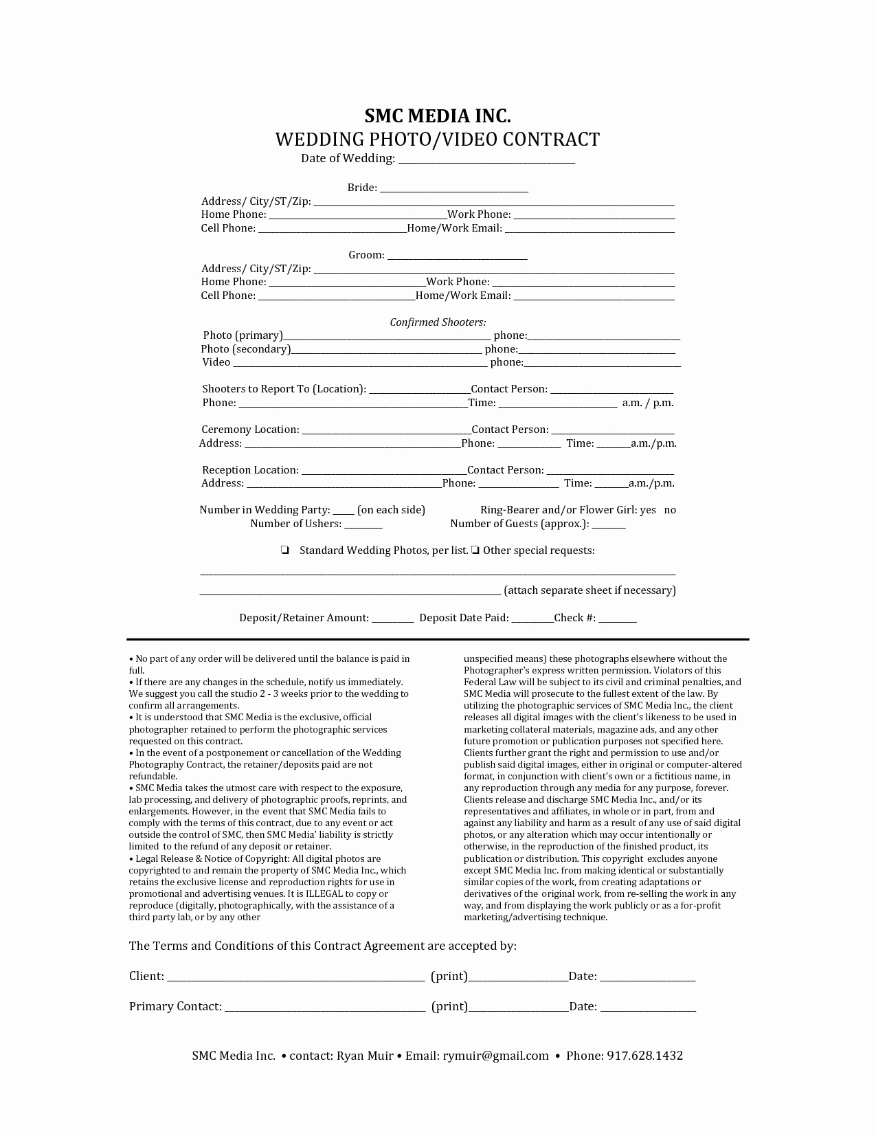 Wedding Flower Contract Template Best Of Wedding Graphy Contract Template Free Printable