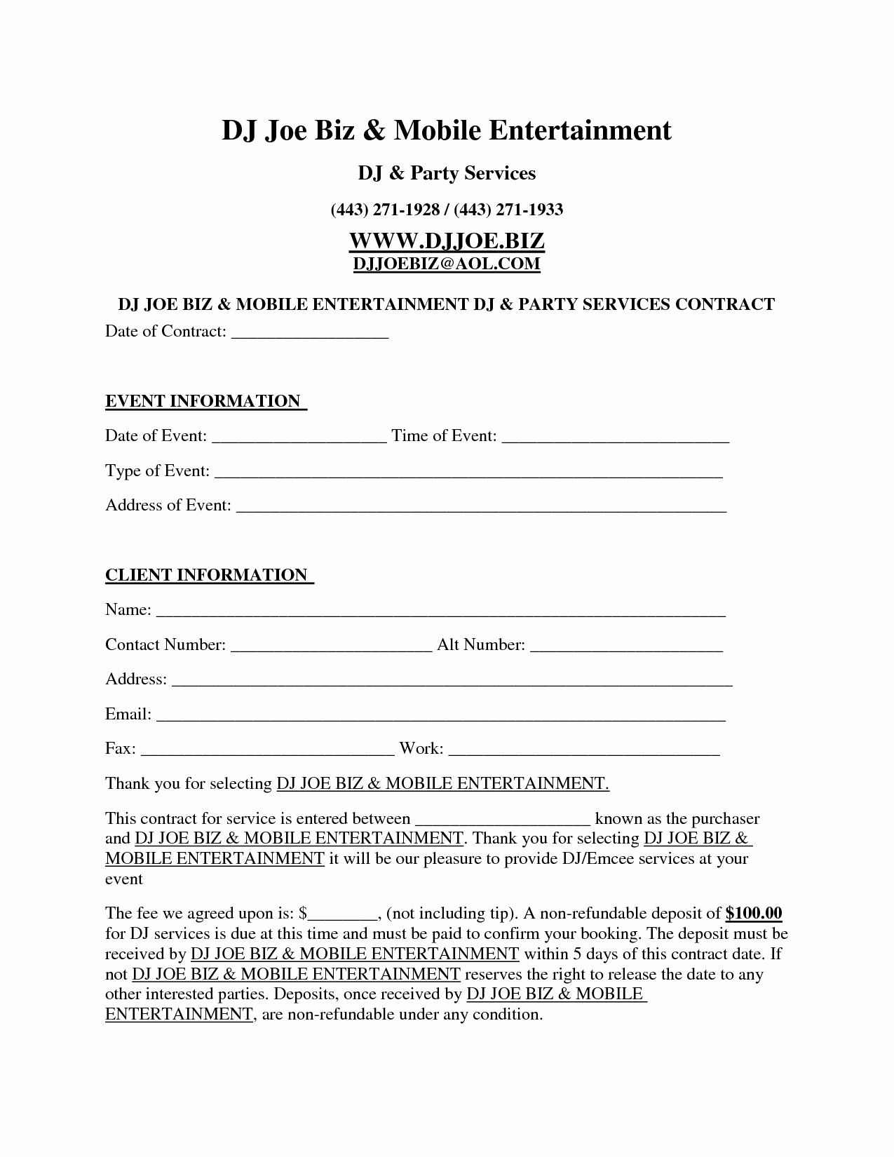 Wedding Flower Contract Template Elegant Dj Contract Free Printable Documents