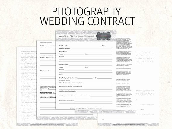 Wedding Flower Contract Template Elegant Wedding Graphy Contract Business forms Flowers Editable