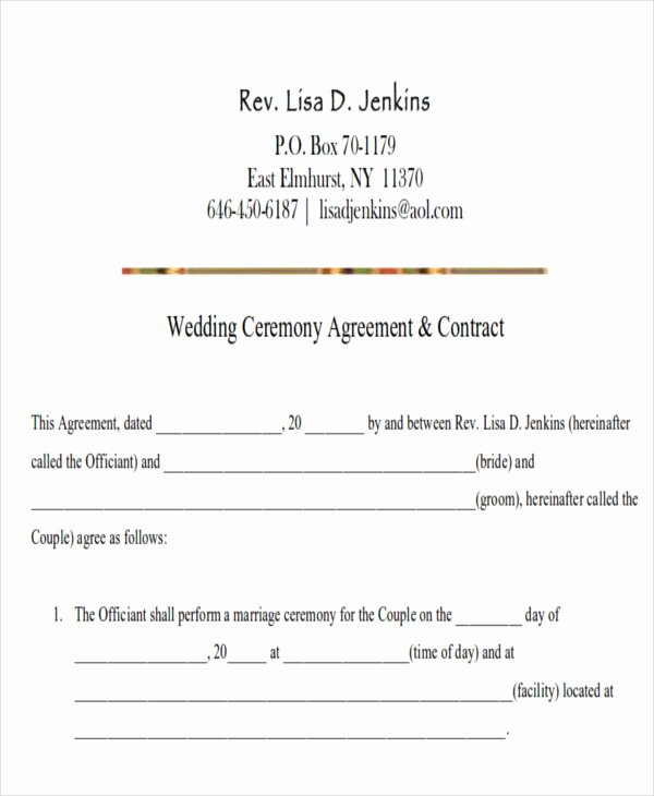Wedding Flower Contract Template Inspirational Sample Wedding Contract Agreements 9 Examples In Word Pdf