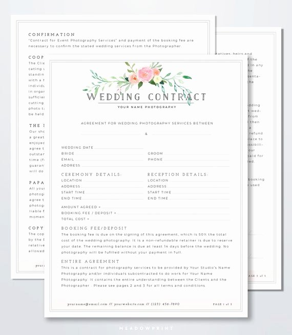 Wedding Flower Contract Template Lovely Wedding Graphy Contract Template Client Booking form