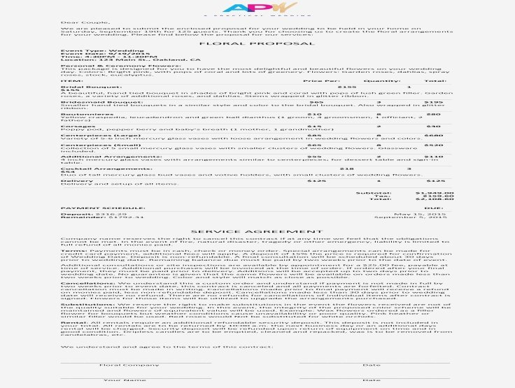 Wedding Flower Contract Template Unique Well Known Wedding Flower Contract &hc74