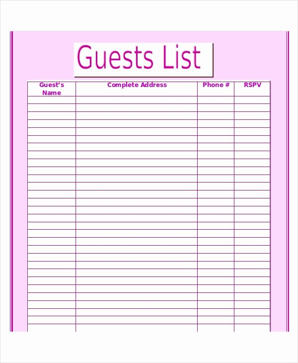 Wedding Guest List Template Printable Awesome Wedding Guest List Template 9 Free Word Excel Pdf