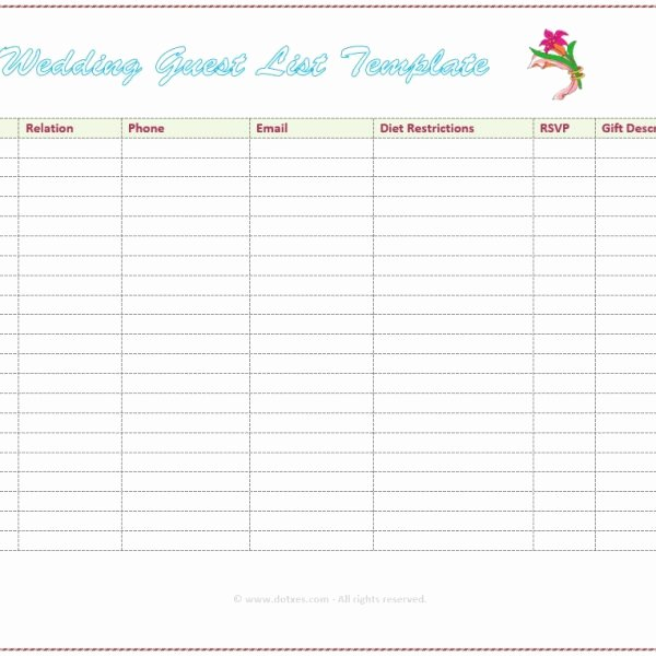 Wedding Guest List Template Printable Best Of 7 Free Wedding Guest List Templates and Managers Intended