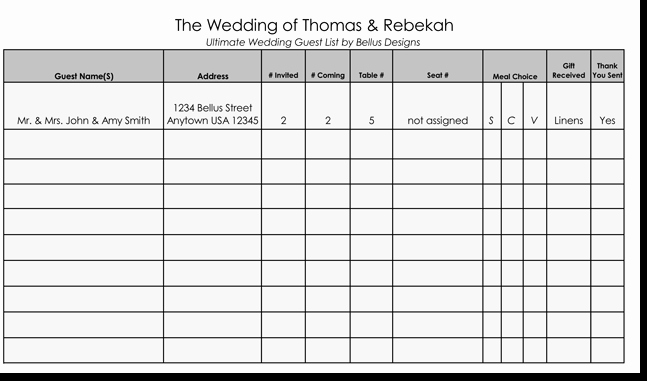 Wedding Guest List Template Printable Fresh Free Wedding Guest List Templates for Word and Excel