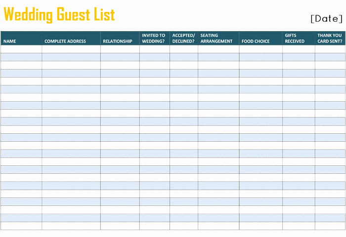 Wedding Guest List Template Printable New Free Printable List Templates