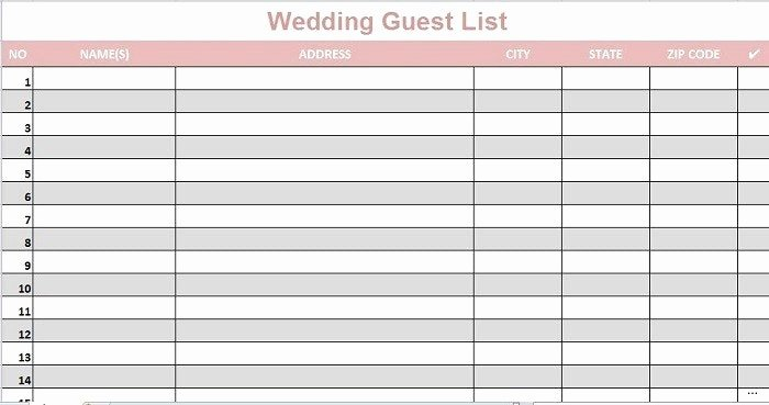 Wedding Guest List Template Printable New Printable Wedding Guest List Template