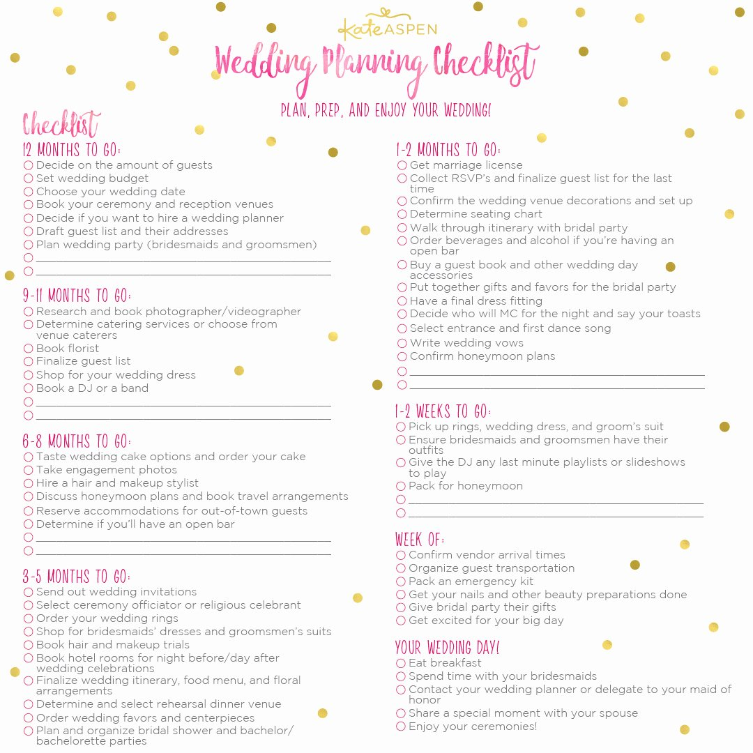Wedding Planner Checklist Printable Elegant A 12 Month Wedding Planning Checklist