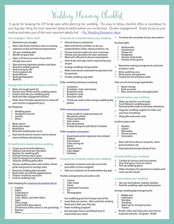 Wedding Planner Checklist Printable Elegant Printable Wedding Planning Checklist for Diy Brides