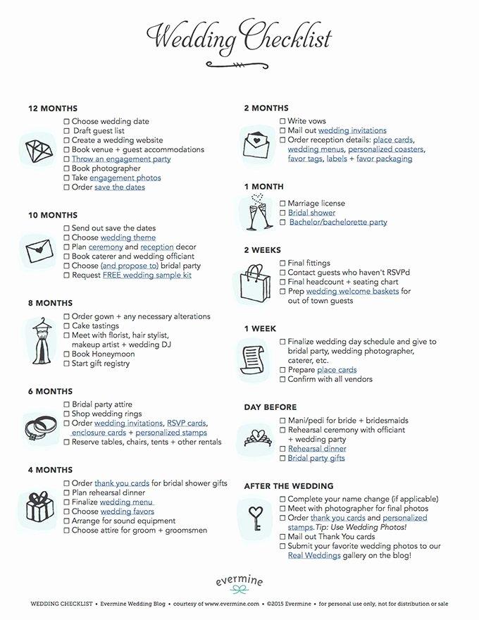 Wedding Planner Checklist Printable Inspirational Free Printable Wedding Checklist In 2019