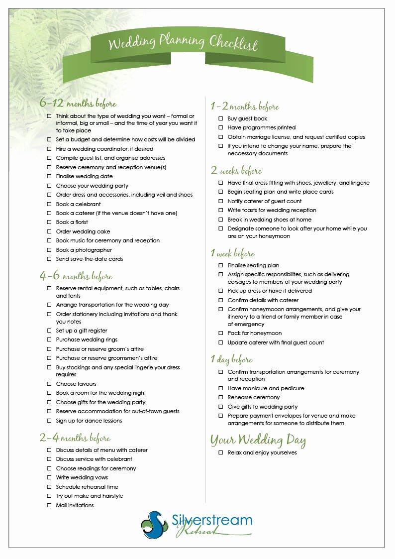 Wedding Planner Checklist Printable Inspirational Resources
