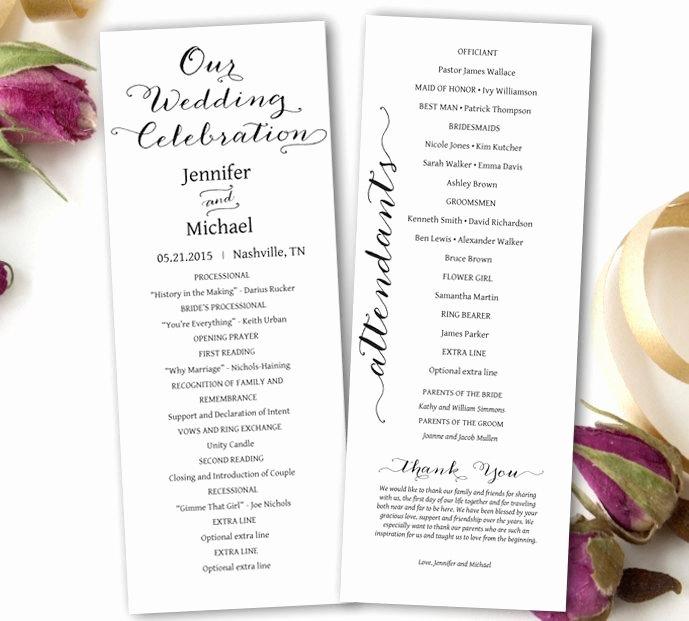 Wedding Program Templates Microsoft Word Beautiful Wedding Program Printable Wedding Program Template Tea