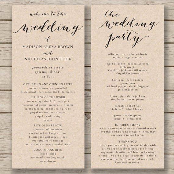 Wedding Program Templates Microsoft Word Beautiful Wedding Program Template Printable by Hopestreetprintables