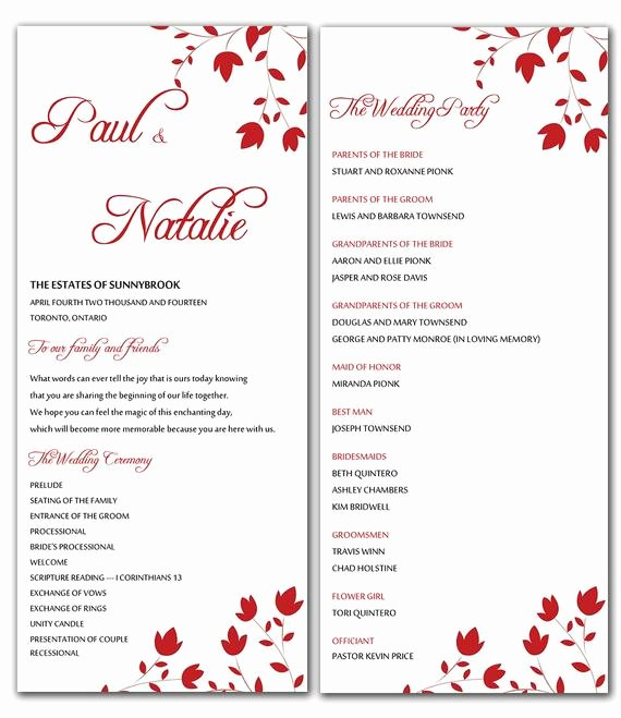 Wedding Program Templates Microsoft Word Inspirational Unavailable Listing On Etsy