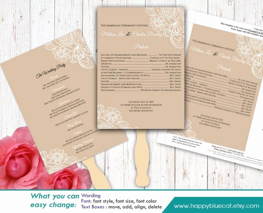 Wedding Program Templates Microsoft Word Lovely Diy Printable Wedding Fan Program Template Instant