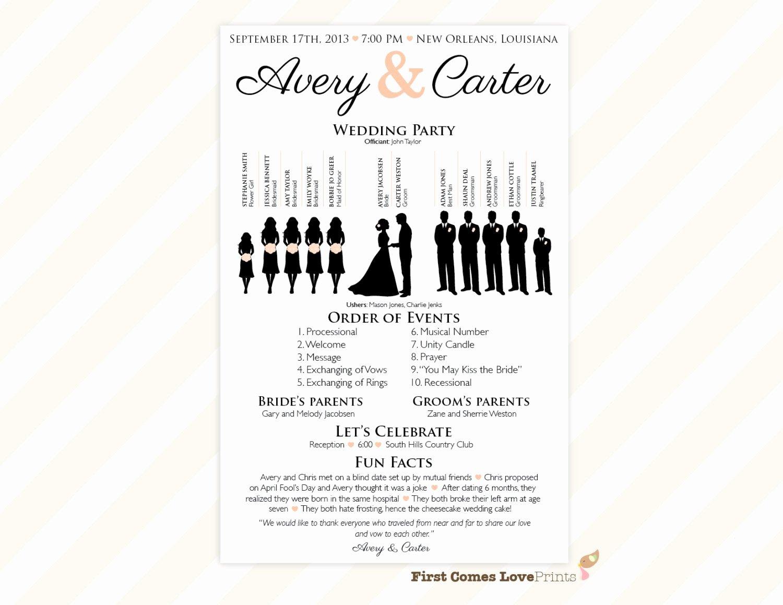 Wedding Program Templates Microsoft Word Unique Printable Silhouette Wedding Program the Avery