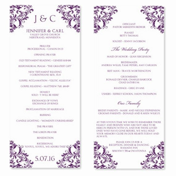 Wedding Program Templates Microsoft Word Unique Wedding Program Template Instant Download Edit by