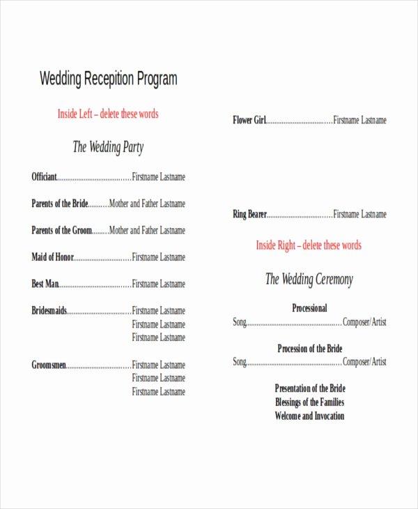 Wedding Reception Program Example Beautiful 10 Wedding Program Templates Free Sample Example