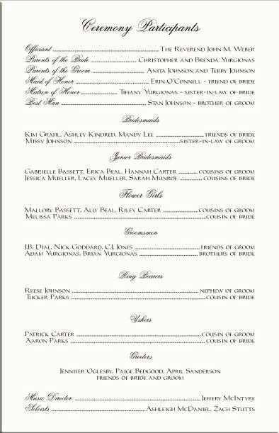 Wedding Reception Program Example Beautiful 17 Best Images About Ceramony On Pinterest